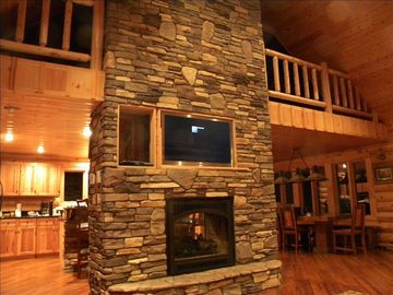 "Two sided full rock gas firepl. LED HDML 3D 48"" TV w Direct TV&H..."