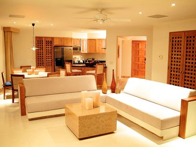 LIving Room. Kitchen. Dining Room