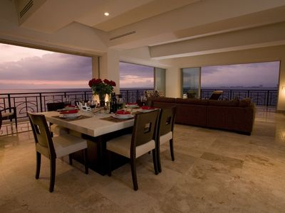 Dining Area and Living Room at Sunset with 270 degree oceanviews