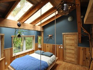 Coos Bay house photo - Queen Hanging Bed below the driftwood night light & Log Ladder for the Loft