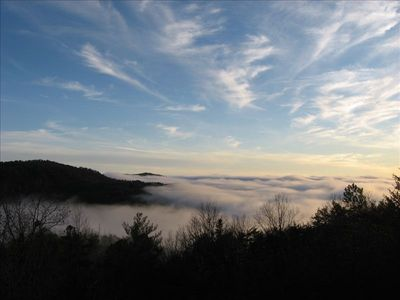 Morning mists overlooking NC Gorges State Park from the cabin