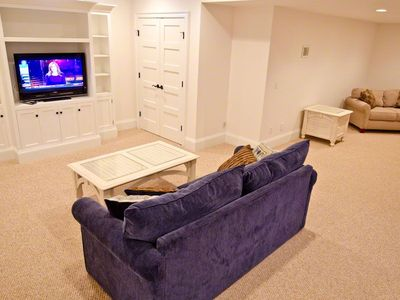 Media Room Has Large Screen TV. Multiple Sofas & Half Bath. Lower Level