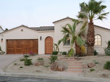Desert Hot Springs house rental - Front Elevation of our home - door enters the courtyard