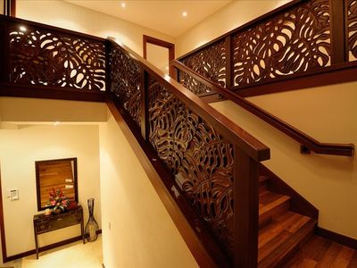 Staircase made of hand-carved, Indonesian Merbau hardwood.