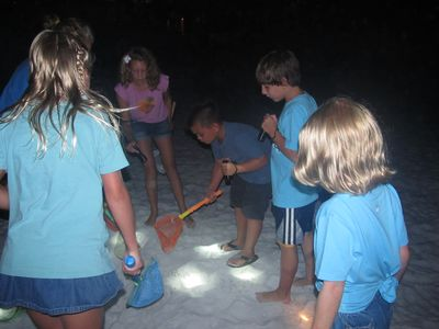 Crabbing is always entertaining when there are kids with flashlights & crab nets