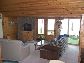Comfortable knotty pine living room