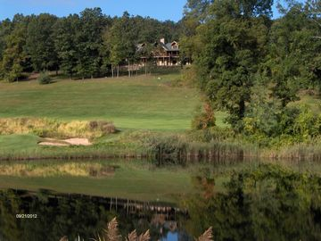 Reflections of the Lodge, high above 2nd fairway and 17th green from across pond
