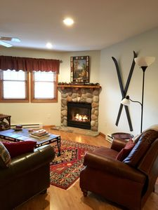 Family Room with stone gas fireplace!