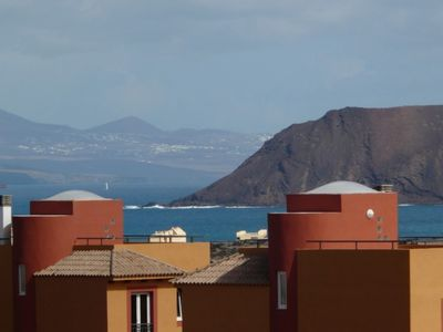 View of Lobos & Lanzarote from roof terrace
