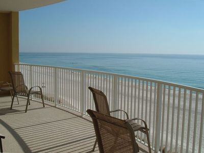 Ocean Villa Resort condo rental - balcony has 2 padded lounge chairs plus table & chairs 603 same 1303