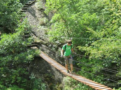Suspension bridge at the via ferrata