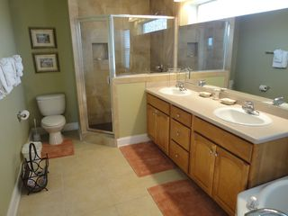 Crystal Beach house photo - Seawatch Master Bath with Walk in Shower & Jetted Jacuzzi