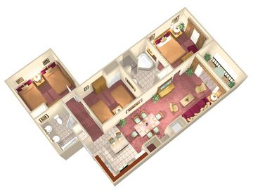 Floridays' 3 Bedroom Floor Plan, complete with the Living Space + Flat Screen TV