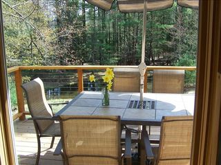 Woodstock cabin photo - Breakfast on the Front Deck w/ pond in background