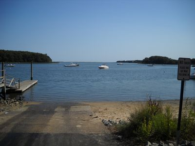 Mashpee house rental - .View of Bay from boat landing
