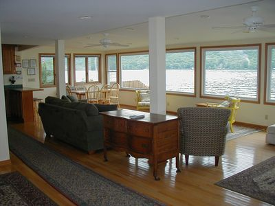 living area with fabulous view of lake