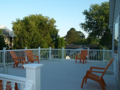 Walk Out Deck from 2nd floor Master Bedroom sitting area and, stairwell to pool.