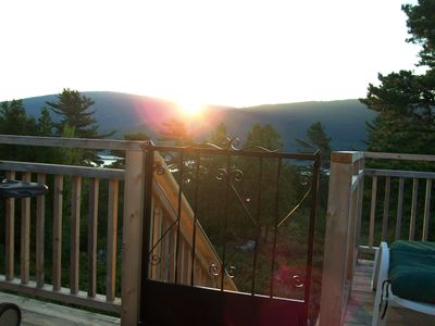 Sunrise Over Mountains of Acadia National Park from the Deck of The Acadia