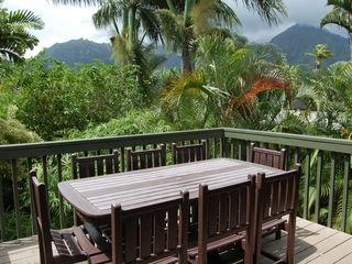 Hanalei house photo - Lanai with outdoor dining, great views.