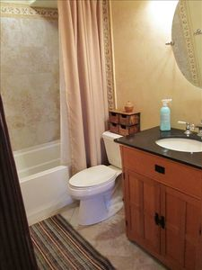 Small but beautiful bathroom, deep soaking tub, great shower,all new