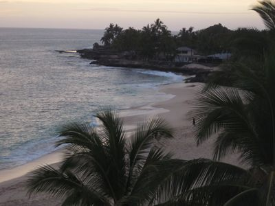 Makaha condo rental - View of the Coastline from the Condo at dusk from the Lanai