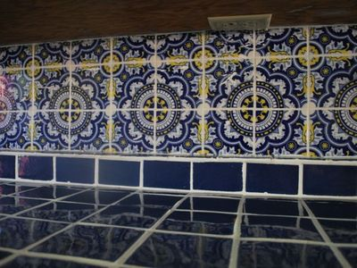 Colbalt blue Mexican tile in kitchen