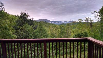 Misty morning sunrise from the deck of the cabin.  Seclusion, peace, and quiet.