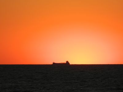 Iron ore freighter in the sunset!