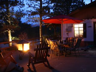 Estes Park cabin photo - Private Patio with plenty room for everyone as you view the Rocky Mountains