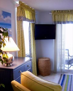 Flat Screen HD TV, DVD Player and Designer Window Treatments