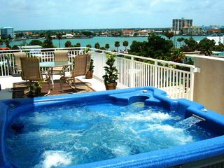 Clearwater Beach townhome photo - Rooftop Hottub with the best Views of the Gulf of Mexico & Intercoastal!