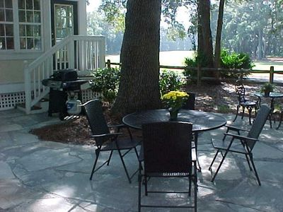 Enjoy your mornings and evenings on our new flagstone patio .