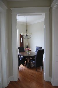 View from the kitchen to the dining room
