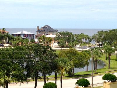 The view of the Gulf of Mexico and entrance to the beach as seen from roof deck