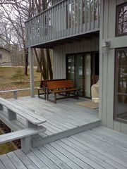 Walker cabin photo - Outdoor deck with benches that turn into picnic tables and new grill