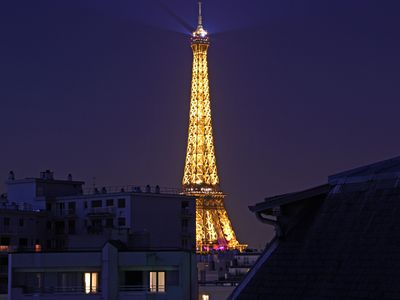 EIFFEL TOWER PENTHOUSE.  Stunning tower views from 5 windows.  Great value for $