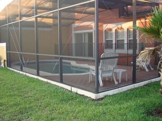 Enclosed patio and pool.