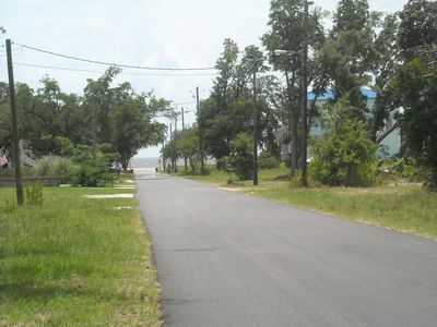 The view down the street towards the Gulf - just a 2 minute walk to the beach