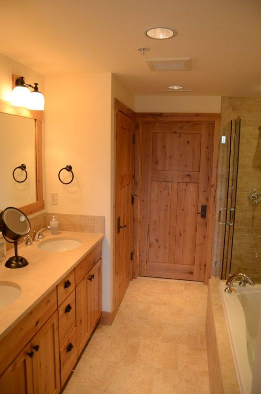 Master I bath w/jetted tub and separate shower. Huge closet and WC behind doors