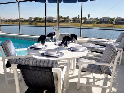 Sunset Lakes villa rental - Enjoy a class of wine or afternoon lunch by the Pool
