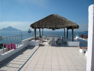 The roof top - which offers a panoramic view of Manzanillo Bay
