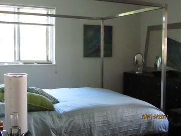 Master Bedroom has Stainless Steel 4 poster with view of the Park