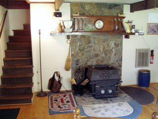 Robbinsville farmhouse photo - Living Room, Pot Belly Stove, Steps to lofts