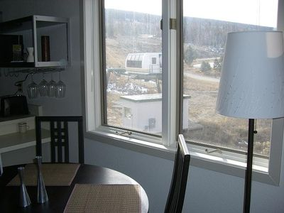 View of ski lift outside dining room window