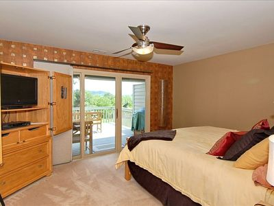 Master Suite-Main Level-Offers King Bed, Walk-in Shower, Jet Tub & Deck Access