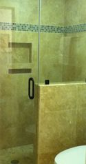 Shipyard villa photo - Master Bathroom Glass-enclosed Travertine Walk-in Shower