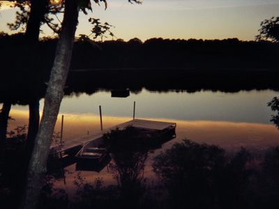 Twilight view of the pond from our cottage.