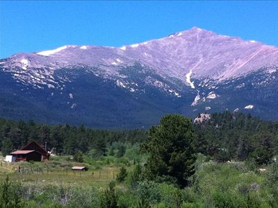 Cabin (on left) looking west toward Mt. Meeker/ Longs Peak