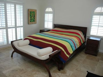 Upstairs bedroom with deck on beach
