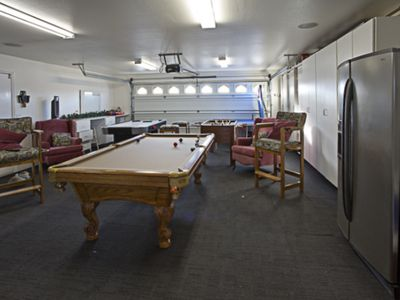 Garage turned game room flat screen HDTV, Foosball, Air Hockey, and Ping Pong